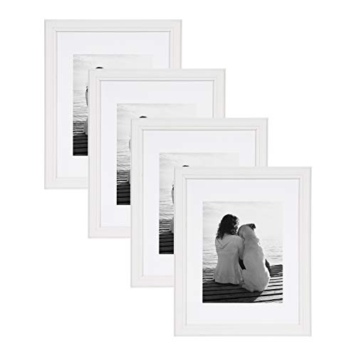DesignOvation Kieva Solid Wood Picture Framess, Soft White 11x14 matted to 8x10, Pack of 4