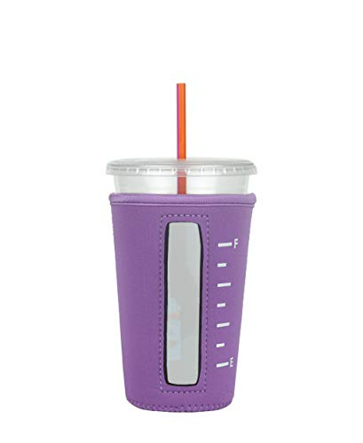 Insulated Neoprene Cup Sleeve/Holder for Iced Beverages (Light-Purple, Medium)