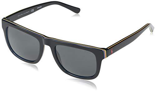 Polo Ralph Lauren Ph4161 Óculos de sol masculinos quadrados, Preto/cinza, 52 mm
