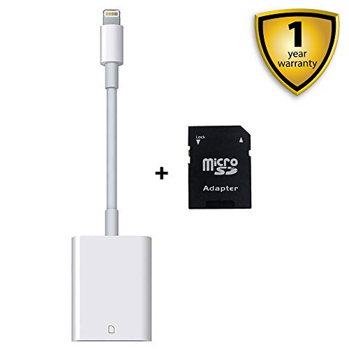 SD Card Reader, Lightning Adapter for iPhone (Requires iOS 9.2 or Later), Trail Game Cameras Viewer for iPhone X/8 Plus/8/7 Plus/7/6s Plus/6s/6 Plus/6/5/5S iPad Mini/Air, No App Required (Upgraded)