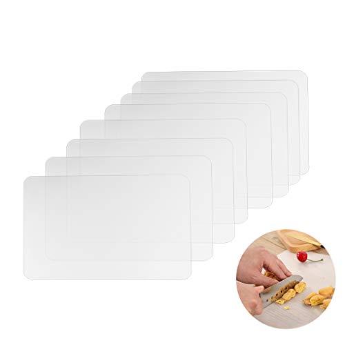 Rolin Roly 8 Piezas Manteles Individuales Plastico Transparente Lavable Resistentes al Calor Antideslizantes Placemat Salvamanteles para Kitchen Table