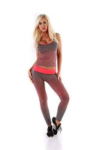 OSAB-Fashion 5561 Damen Sport-Set 2-teilig Jogginganzug Tanktop Joggpants Hose Fitnessanzug