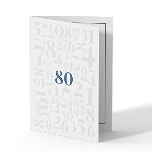(10 x) Einladungskarten zum 80. Geburtstag Einladungen Karten Klappkarte Edel runder