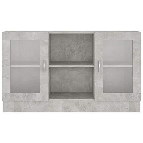 Lasamot Mueble de Vidrio Aparador Vitrina Mueble con Puerta de Vidrio Mueble, 120x30.5x70 cm, Gris Cemento