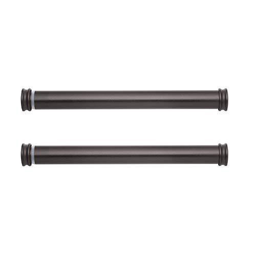 Mode Premium Collection Side Mount Curtain Rod Pair with End Caps, 12 to 20 in - Dark Brown