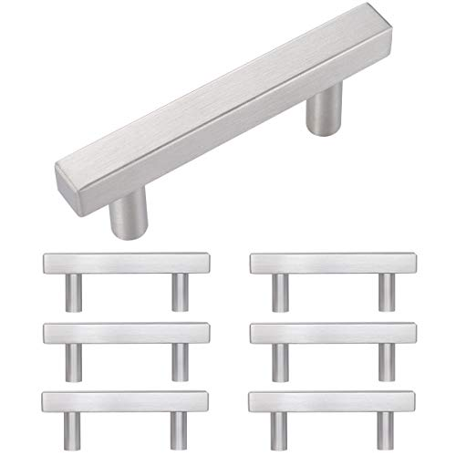 Kitchen Cabint Pulls and Knobs Cabinet Pull Bar Stainless Steel Square Handles for Kitchen/Cupboard/Closet/Desk Drawer (Hole Center:3