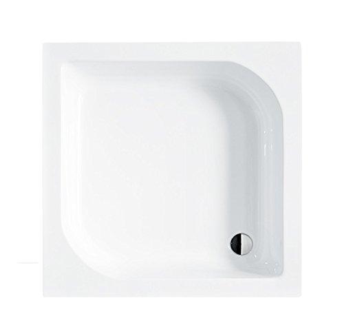 Duschwanne 70x70 cm Duschtasse ohne Schürze Quadrat ARES L-Form + Siphon Viega Domoplex fi50 befliesbar