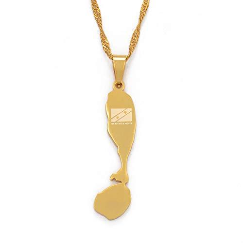 Ucjhxfr Collar de acero inoxidable con colgante de mapa de San Cristóbal y Nevia, regalo para niñas #098221