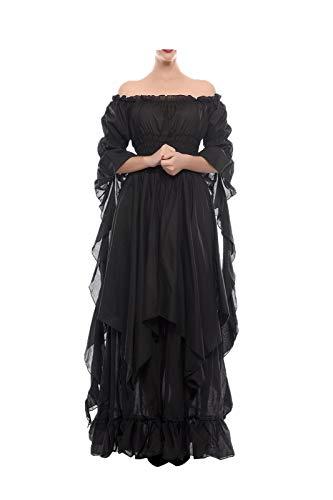 NSPSTT Victorian Dress Renaissance Costume Women Gothic Witch Dress Medieval Wedding Dress(S/M, Black)