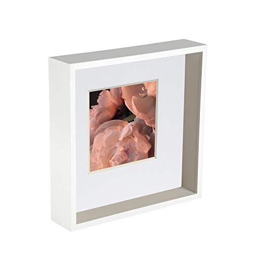 Nicola Spring 10 x 10 3D-Schatten-Tief Box Photo Frame - Craft Anzeigen Bilderrahmen mit 6 x 6-Halterung - Weiß
