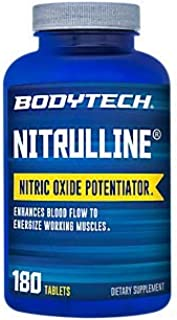 BodyTech Nitrulline Nitric Oxide Potentiator to Help Energize Nourish Working Muscles, 60 Servings (180 Tablets)