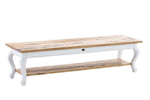 CLP Tavolo Salotto in Legno Massiccio Vartan, Stile Shabby Chic   Tavolino Basso con Doppio Ripiano in Legno   Tavolino da Divano Stile Rustico, Altezza ca. 40 cm, Dimensioni ca. 165 x 45 cm Bianco