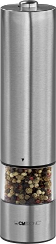 Clatronic PSM 3004 N - Pimentero eléctrico de acero inoxidable, incluye luz para dosificar, perfecto para sal y pimienta