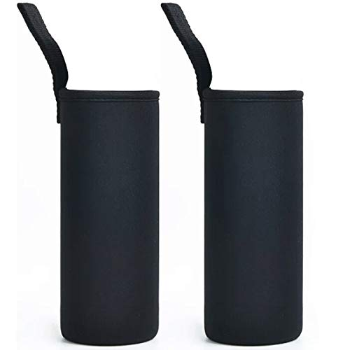 ZAIYASE マイボトルカバー 断熱ネオプレン ボトルカバー 水筒カバー ペットボトルカバー ウォーターボトルバッグ ケトルバッグ ボトルカバー ホルダー 水筒ケース 700ml 750ml 800ml 用 2枚 (排気穴がない・ブラック 700ml~8