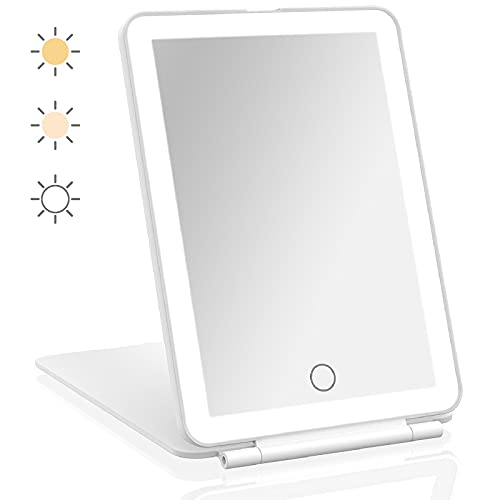 Travel Mirror, LED Mirror Makeup, Portable Rechargeable Light Up Mirror for Makeup