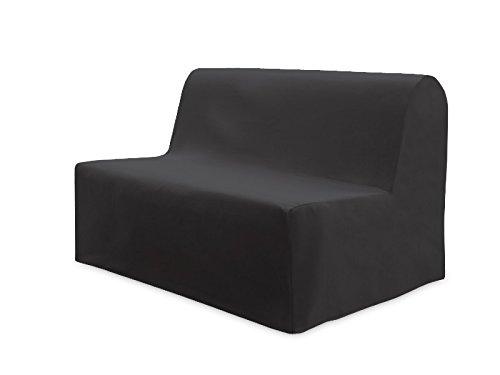Soleil d'ocre Fodera per divano letto in cotone PANAMA antracite, grigio, da 120 a 200 x 140 cm, tela
