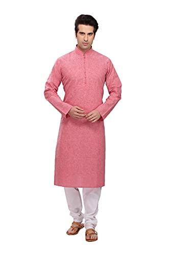 Indian Women Sarees Pijama Kurta de algodón rosa cómodo y relajante para hombre ICW3052-2-38