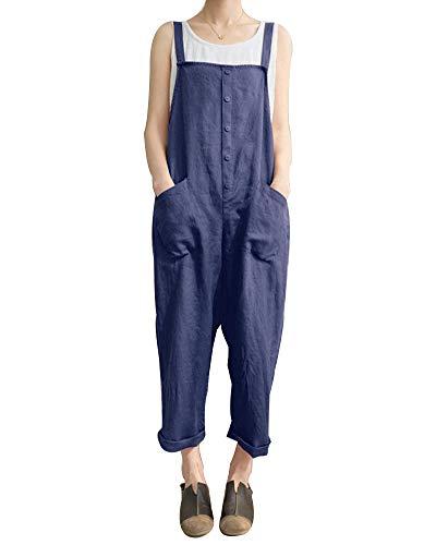 Damen Latzhose Einfarbig Overall Ärmellos Hohe Taille Tasche Loose Jumpsuits Dunkelblau 4XL