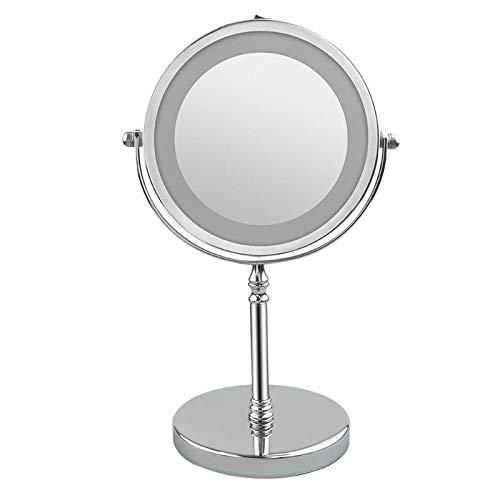 SPLLEADER Portable LED Miroir De Maquillage Éclairé 7 Pouce 10x Grossissement Double Face 360 Degrés Tournant Miroir De Maquillage Cosmétique Outil pour Les Femmes