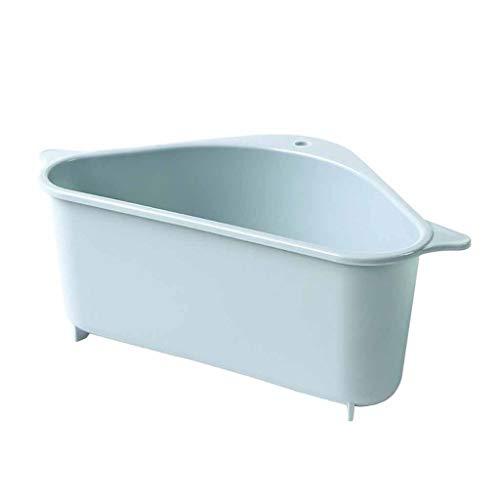 Sayla Spülbecken Organizer, Schwammhalter Spülorganizer Spülbecken Organizer Dreieckiger Korb Waschbecken Triangular Sink mit Saugnapf Abflusskorb Duschkorb für Badezimmer Waschküche (Blau)