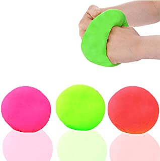 Stress relief toys [3 pack] Squishy Toys Stress Ball. (Green, Orange and Pink). Mold it, Squeeze it, Stretch it, Smoosh it. Great for kids and adults. Bouncy Squeezable and Soft