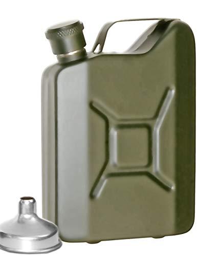 Outdoor Saxx® - Edelstahl Flachmann Sprit Benzin-Kanister Optik, Taschen-Flasche, Trink-Flasche, Schnaps-Flasche, Tolle Geschenk-Idee in Geschenk-Box, 150 ml, Oliv-grün