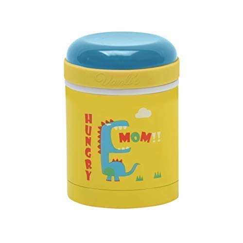 Vanli's Kids Thermos For Hot Food 10 Oz| Leakproof Food Jar| Vacuum Insulated Food Thermos For Hot Food | Keeps Food Hot or Cold For Several Hours | Travel Friendly Container No BPA | Yellow Dinosaur