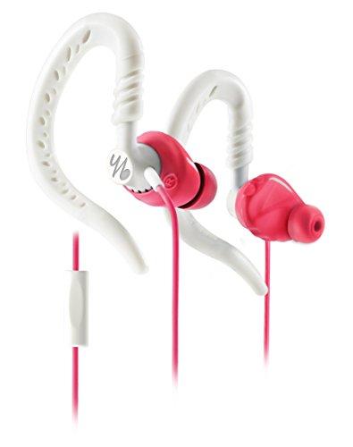 Yurbuds by JBL Focus 300 Behind-the-Ear Sport Kopfhörer (für Damen, flexiblem Ohrbügel, TwistLock Technologie, geeignet für Smartphones/Tablets/MP3 Geräten) pink/weiß