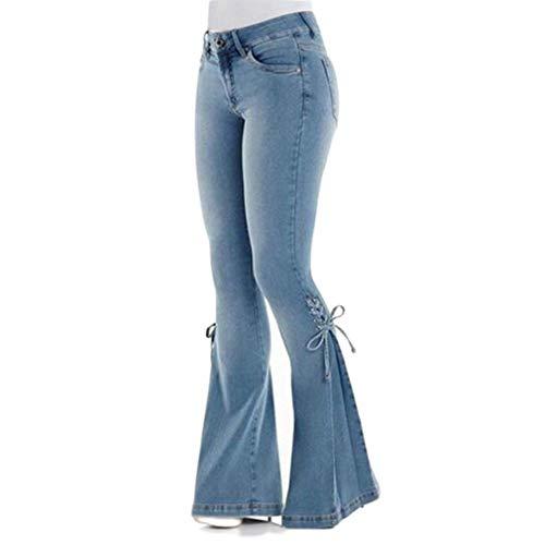 HongHu Sexy High Waist Flare Jeans de Mujer Fashion Bell Bottom Skinny Denim Jeans Light Blue XL