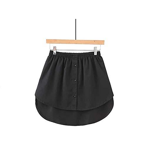Verstellbare Schichtung Vielseitige Damen Damen Fake False Shirt Schwanz Bluse Saum,Baumwolle Abnehmbarer Unterrock Rock,Sweatshirt Extender Minirock,Dekorative Röcke Für Pullover (Blacke-XXL)