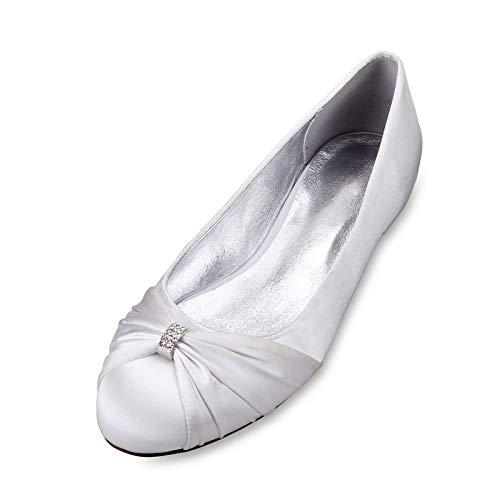 AQTEC Zapatos de Boda para Mujer con Puntera Cerrada de satén Bowknot Planos Bailarinas Sandalias,Blanco,38 EU