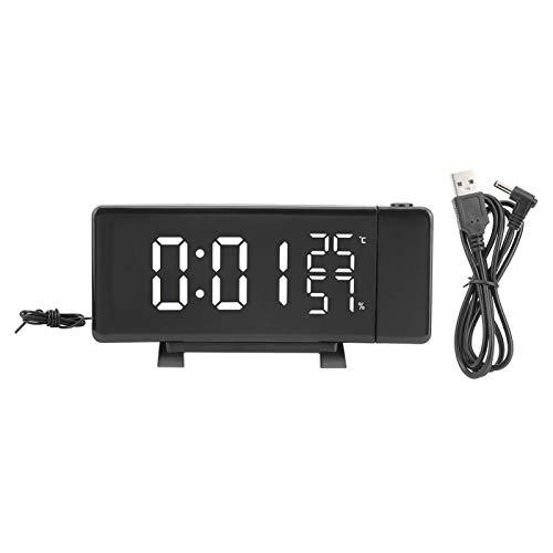 YIHEXUANkeji Reloj despertador digital multifuncional con estilo, reloj despertador digital con proyección, termómetro higrómetro, adecuado para dormitorio, oficina, viajes.