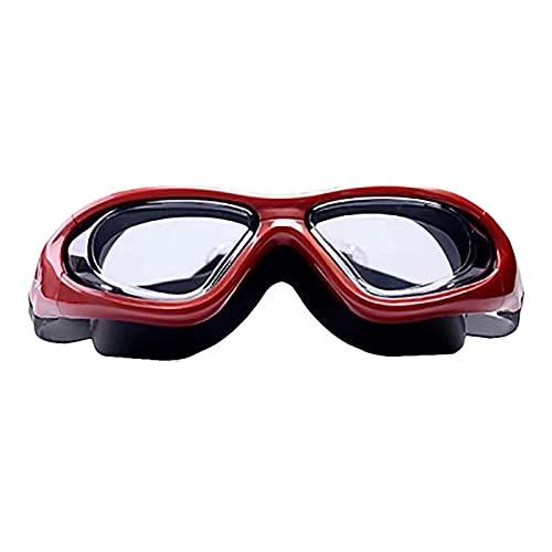 JFCXBSSL Gafas de natación de silicona roja Hd gafas de natación impermeables y antivaho masculino femenino adulto cómodo marco grande gafas de natación