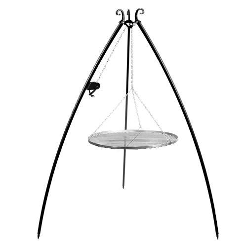 CookKing Stand-Grill Dreibein Grill massiv Edelstahlgitter 200cm und Kurbel 50cm