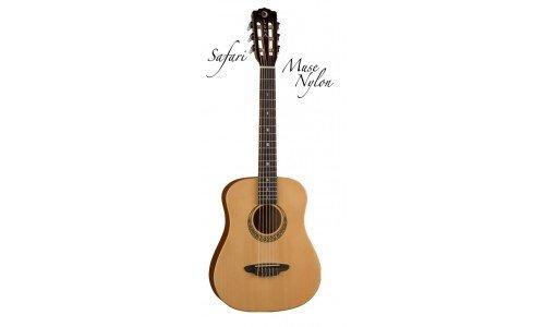 Luna Guitars Safari 3/4 Reisegitarre, keltisches Rosetten-Design, Nylonsaiten, inklusive Gitarrentasche
