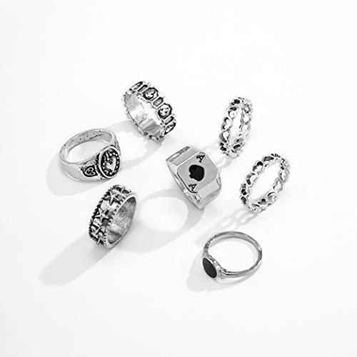 Xisesan, anello in lega a forma di cuore, stile vintage, stile gotico, stile retrò, stile poker, stile punk