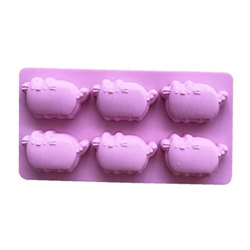 BYFRI 1pc Silikon-Form Für Schokoladen-süßigkeiten Eiswürfel Und Crayon Melts 6-Katzen-Karikatur Reiskuchen Gedämpfter Kuchen-Form