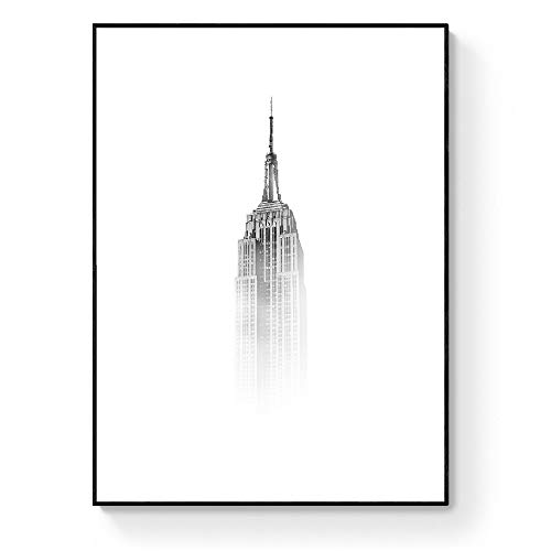 LAMINAHOME Láminas decorativas para enmarcar blanco y negro diferentes diseños y tamaños. Art prints black&white elegantes (Empire State Building, 40x50cm)