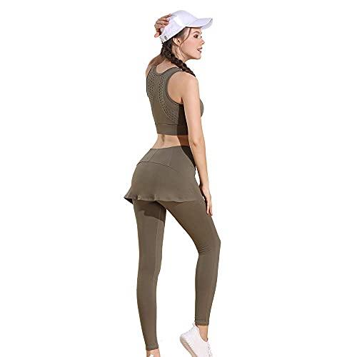 N\C LKWK MNBVC Pantalones de Yoga para Mujer Conjunto de Sujetador Falso de Dos Piezas elástico Fuerte y Transpirable con Espalda Hueca sin Sello en la Cintura Cómodo y Suave