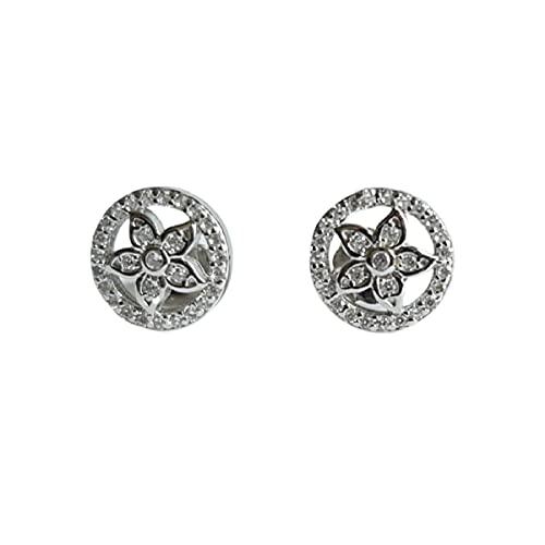 Pendientes de tuerca de diamante con acabado en oro blanco | Regalo de joyería para mujeres y niñas mamá | Elegante caja de regalo