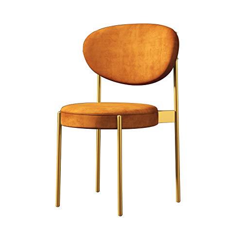 Soft Velvet Kitchen Dining Chair Gepolsterte Rückenlehne & Kissen Accent Chair Office Freizeitverhandlungsstuhl Coffee Milk Tea Shop Sitzhocker mit goldenen Metallbeinen Braun
