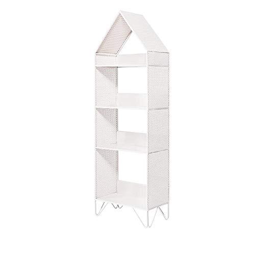 JCNFA Staande boekenkast van metaal, rooster, boeken, platen, CD-standaard, scheidingswand, haarspeld-voet, dragend, 3 kleuren, 2 maten 16.14 * 9.05 * 50.39in wit