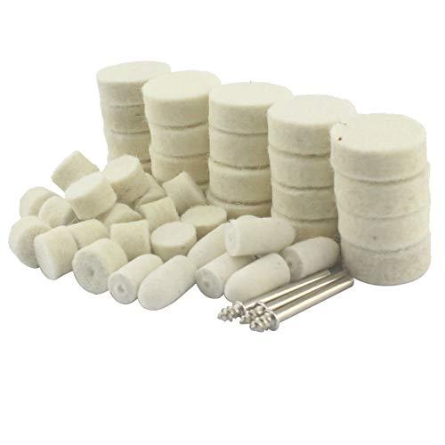 Luo ke 48 Pieces Various Shape Wool Felt Buffing Wheel Polishing Pad for Dremel Rotary Tool