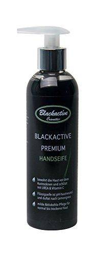 Blackactive Premium Handseife Seife für Füße schwarz 250 ml mit Aktivkohle - Charcoal soap black