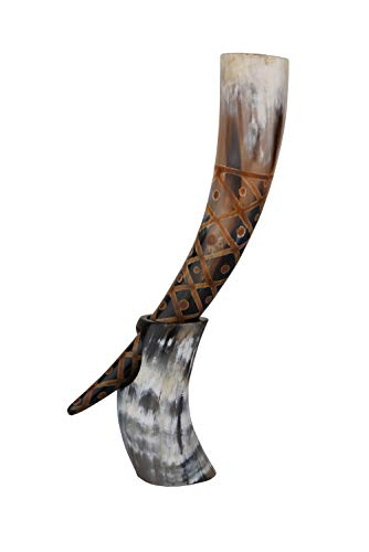 Real Drinking Horn with Stand Handmade for Viking Ale Beer Wine Malt Goblet Tumbler (14 Inches, Burnt Craft)