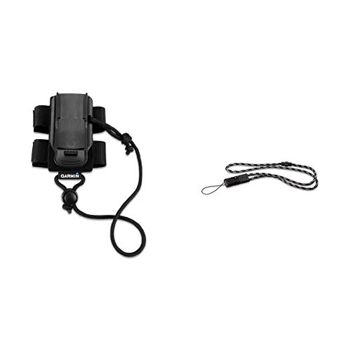 Garmin 010-11855-00 Backpack Tether for GPS Devices, Black & 010-11733-00 Quick Release Lanyard for Garmin Outdoor Handheld GPS Devices - Black, Grey