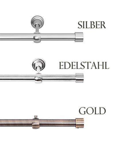 Rollmayer Chrom Matt Vorhangstange/Gardinenstange aus Metall Ø 19mm (400cm Crux, im Silber, 1-läufig) einfache Montage Verschiedene Größen und Endstücken Ohne Ringe!