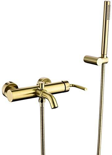 Wasserhahn Bad-Duschgarnitur Gebürstetes Gold Badewannenarmaturen Einhebel-Badearmatur Mit Split-Typ Und Heiß-Kaltwasser-Wand-Badearmatur Aus Massivem Messing Mit Handbrause