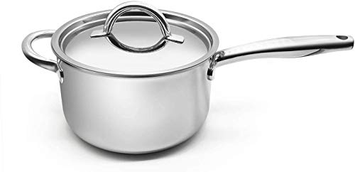 Fortune Candy 4-Quart Saucepan with Lid, Tri-Ply, 18/8 Stainless Steel, Advanced Welding Technology, Dishwasher Safe, Induction Ready, Mirror Finish...