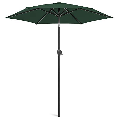 Best Choice Products 7.5ft Heavy-Duty Round Outdoor Market Patio Umbrella w/Steel Pole, Push Button Tilt, Easy Crank Lift - Green